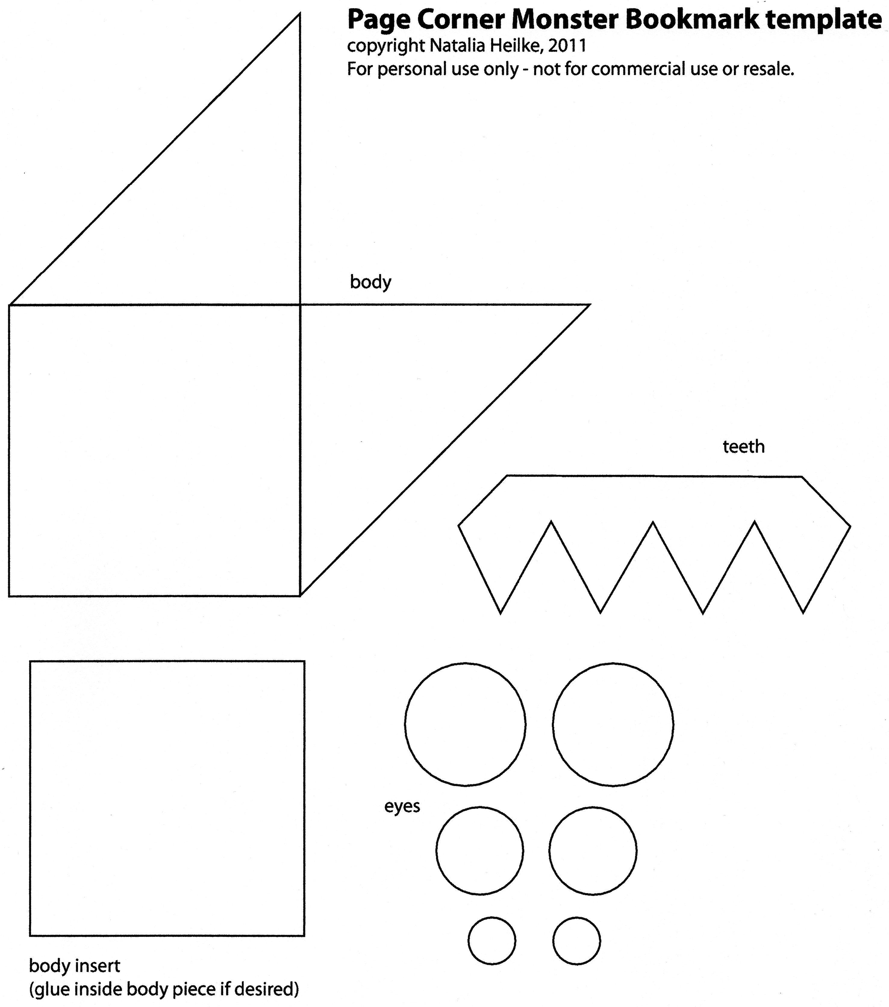 graphic relating to Corner Bookmark Template Printable titled Resultado de imagen de shark corner bookmark template