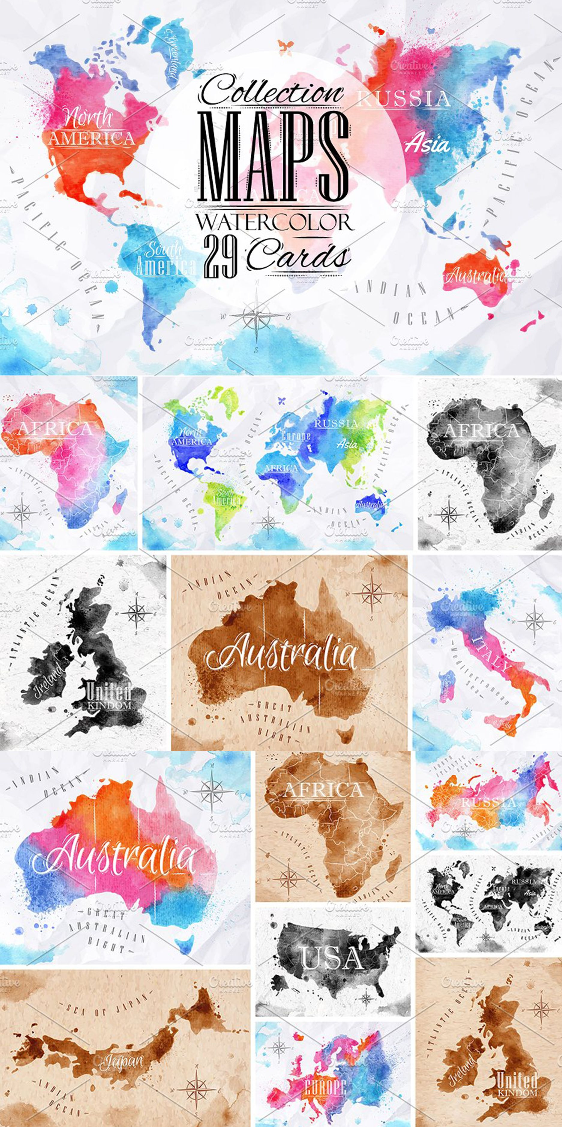 Watercolor World Map Water Color World Map World Map Outline