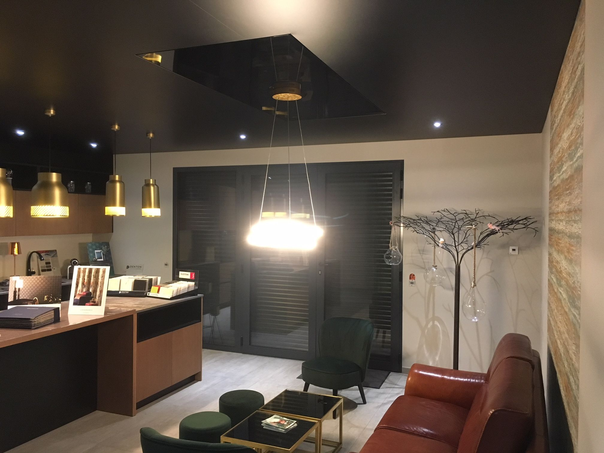 Plafond Tendu Noir Mat Avec Caisson Luminaire Toile Noir Brillante