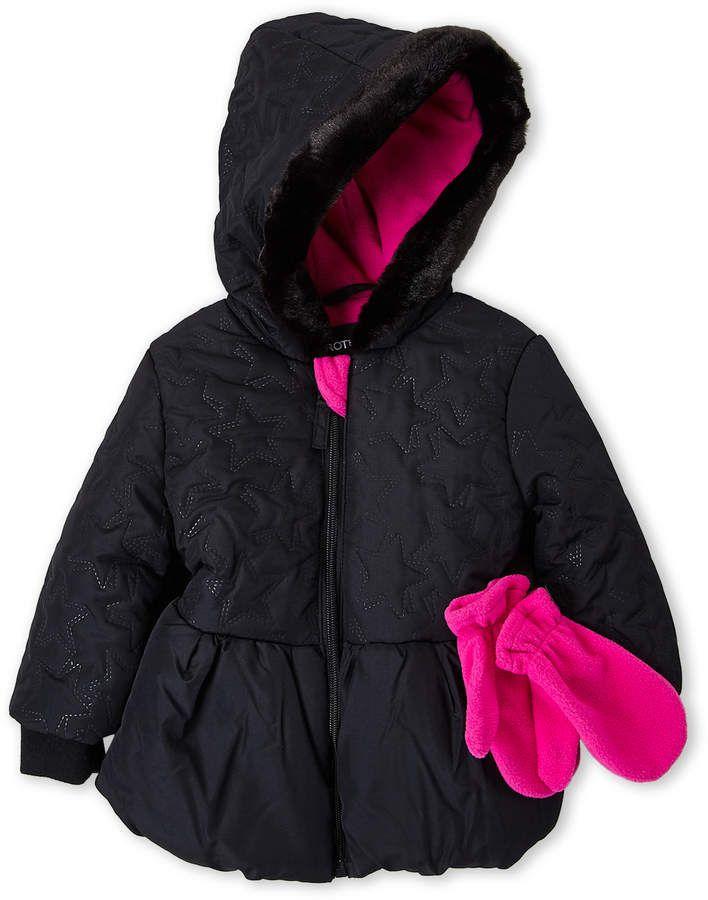 70515b2de3ea Rothschild (Toddler Girls) Two-Piece Star Quilted Hooded Peplum Jacket    Mitten Set