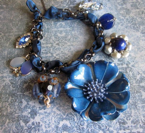 FIFTY SHADES of BLUE - Vintage Assemblage Enamel Flower Necklace - Cobalt - Sapphire - Royal Blue - Denim - Navy - Powder Blue