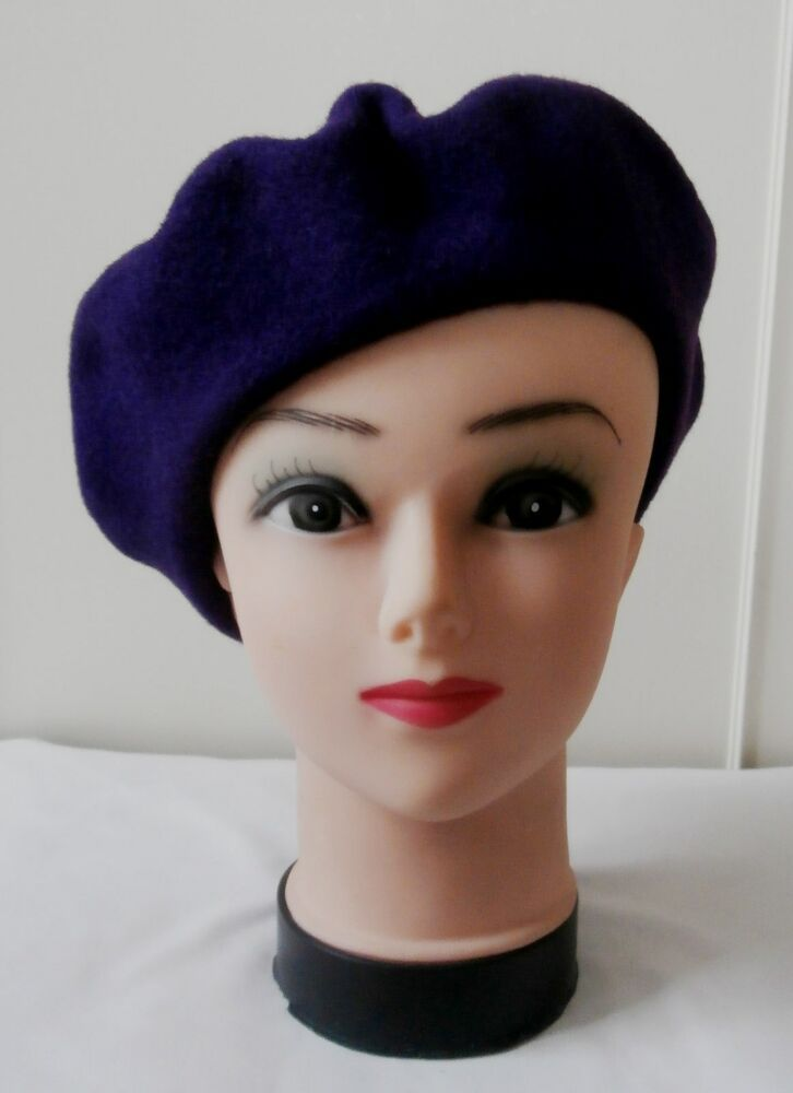 bb1e5cc2 Vintage Late 1980s Purple Felted Wool Beret Hat by Kangol | Vintage ...