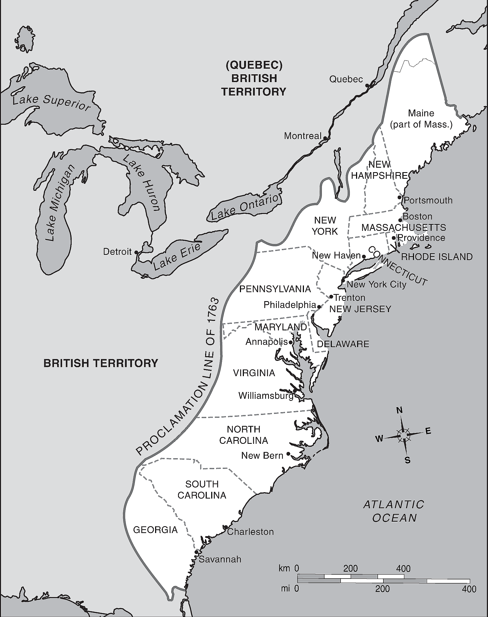 The Original 13 Colonies Map
