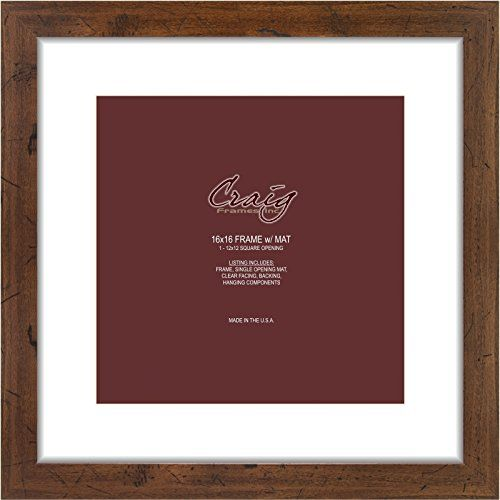 Craig Frames 26011 16 By 16 Inch Distressed Light Walnut Picture Frame Single White Mat With 1 12 By 12 Inch Square Frame Craig Frames Black Picture Frames