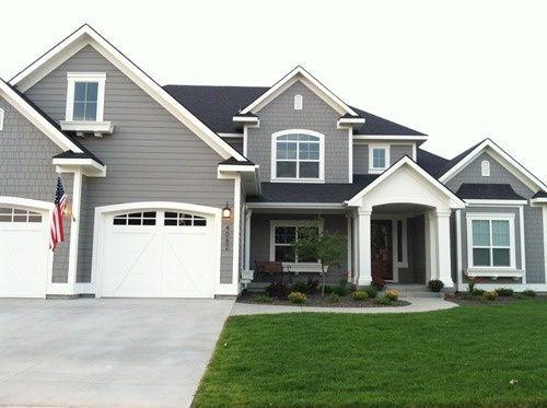 dovetail gray sw, white dove bm exterior paint colors.   New home ...