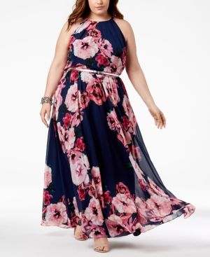 I.n.c. Plus Size Floral-Print Maxi Dress, Created for Macy\'s - Black ...