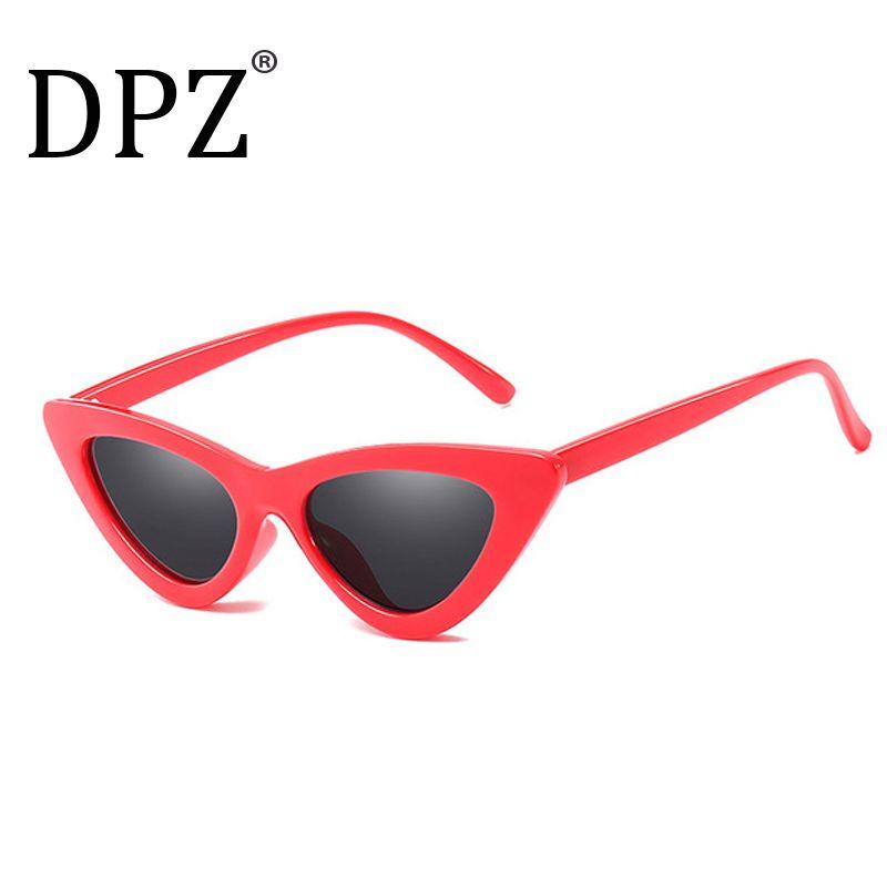 b47af59347 DPZ Fashion Sexy Retro Cat Eye Sunglasses Women Small Black Red 2018  Triangle Vintage Cheap Sun