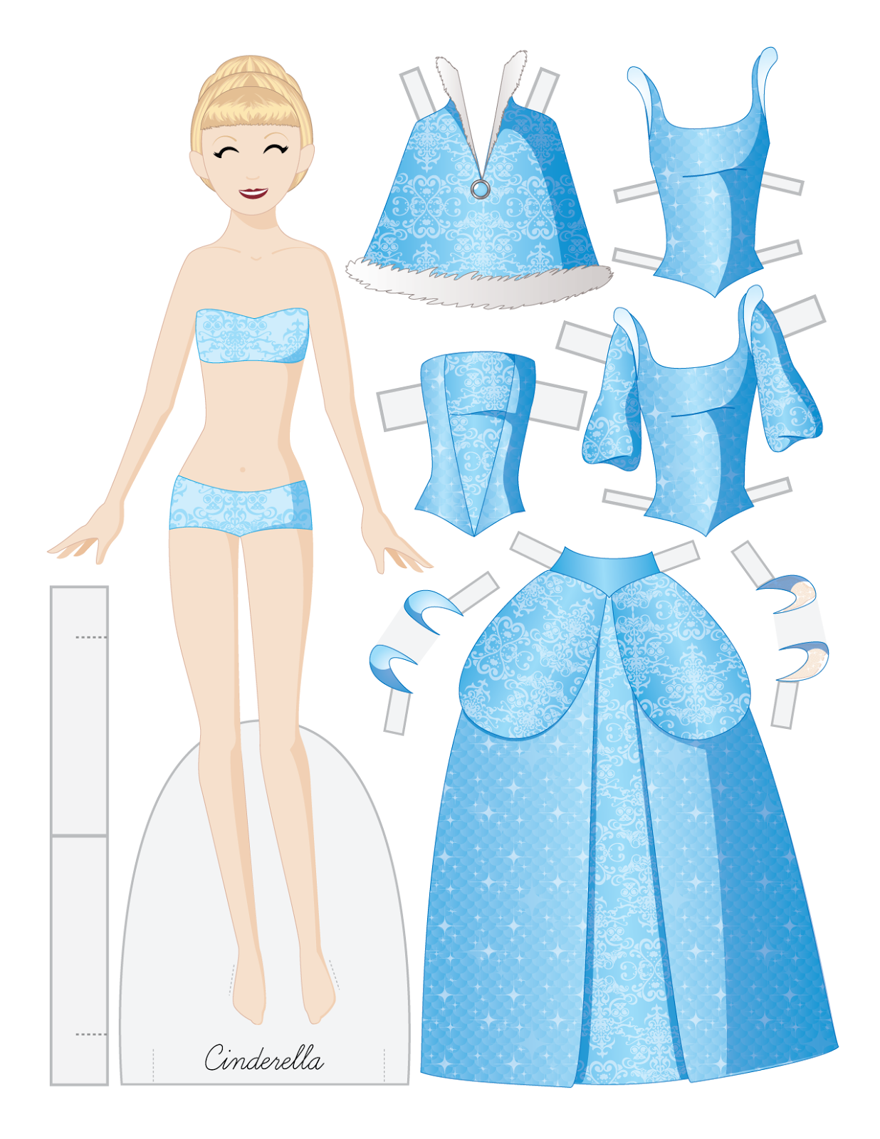 Cinderella paper doll. Fairy tale fashion. * 1500 free paper dolls ...
