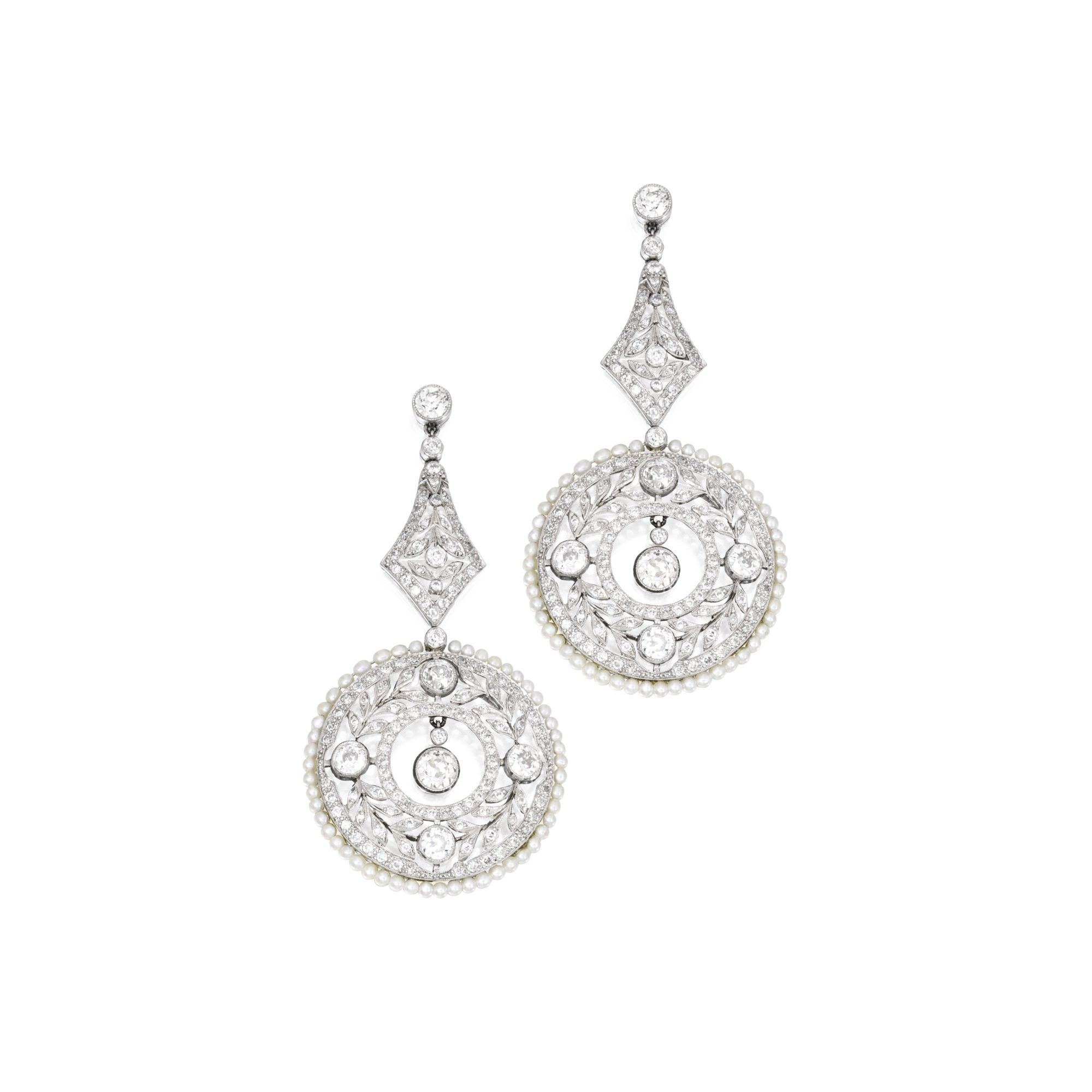Pair of platinum diamond and seed pearl pendantearrings of garland