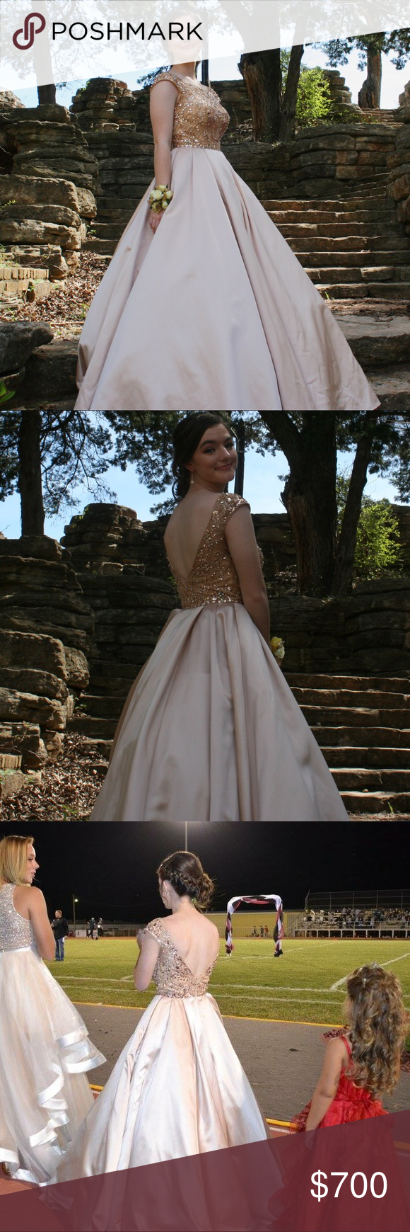 Sherri hill prom dress gorgeous champagne colored prom dress only