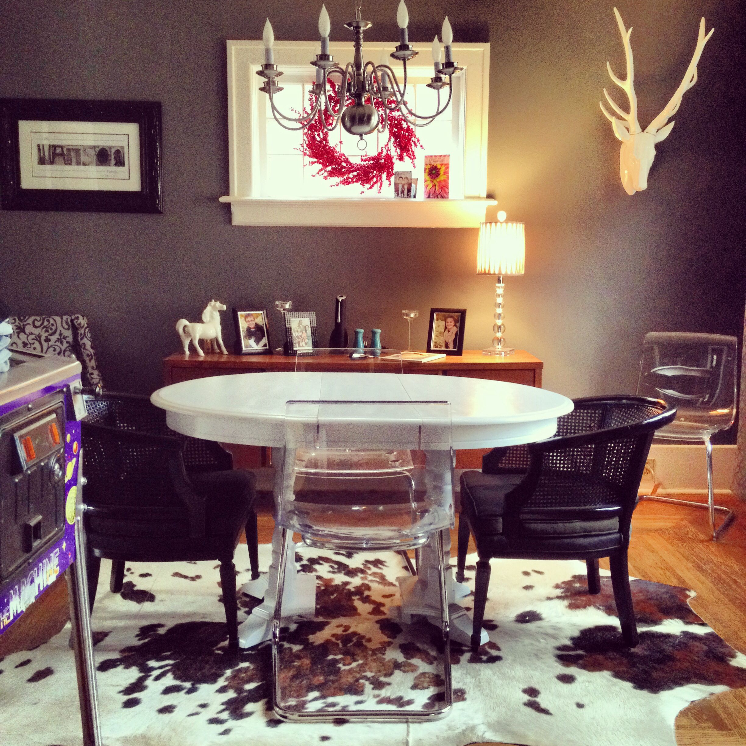 Cow Hide And Lucite Chairs Potterybarn Ikea For The