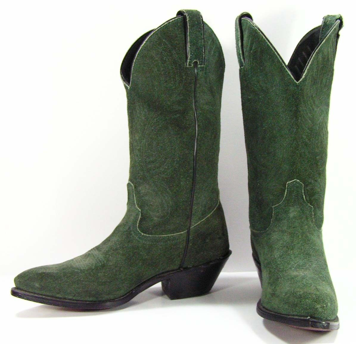 c569e7ca7ec cowboy boots womens 6.5 B M green leather suede western cowgirl ...