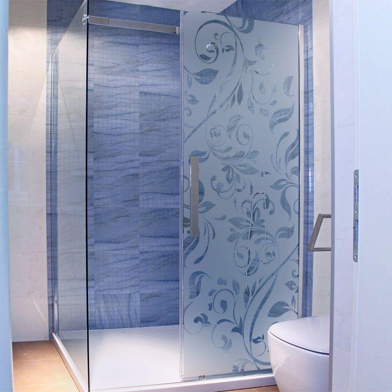 d coratif cet adh sif pour paroi de douche compos de fleurs design embellira votre salle de. Black Bedroom Furniture Sets. Home Design Ideas