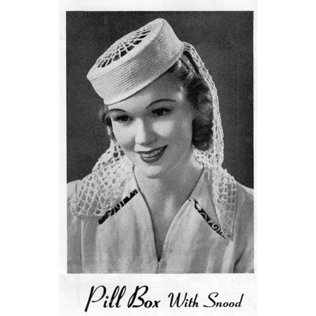 Vintage 1930s Crocheted Pillbox Hat with Snood   hats to crochet or ...