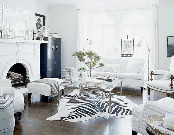Zebra Rug In Black And White Room Black And White Living Room White Living Room Decor Black And White Living Room Decor