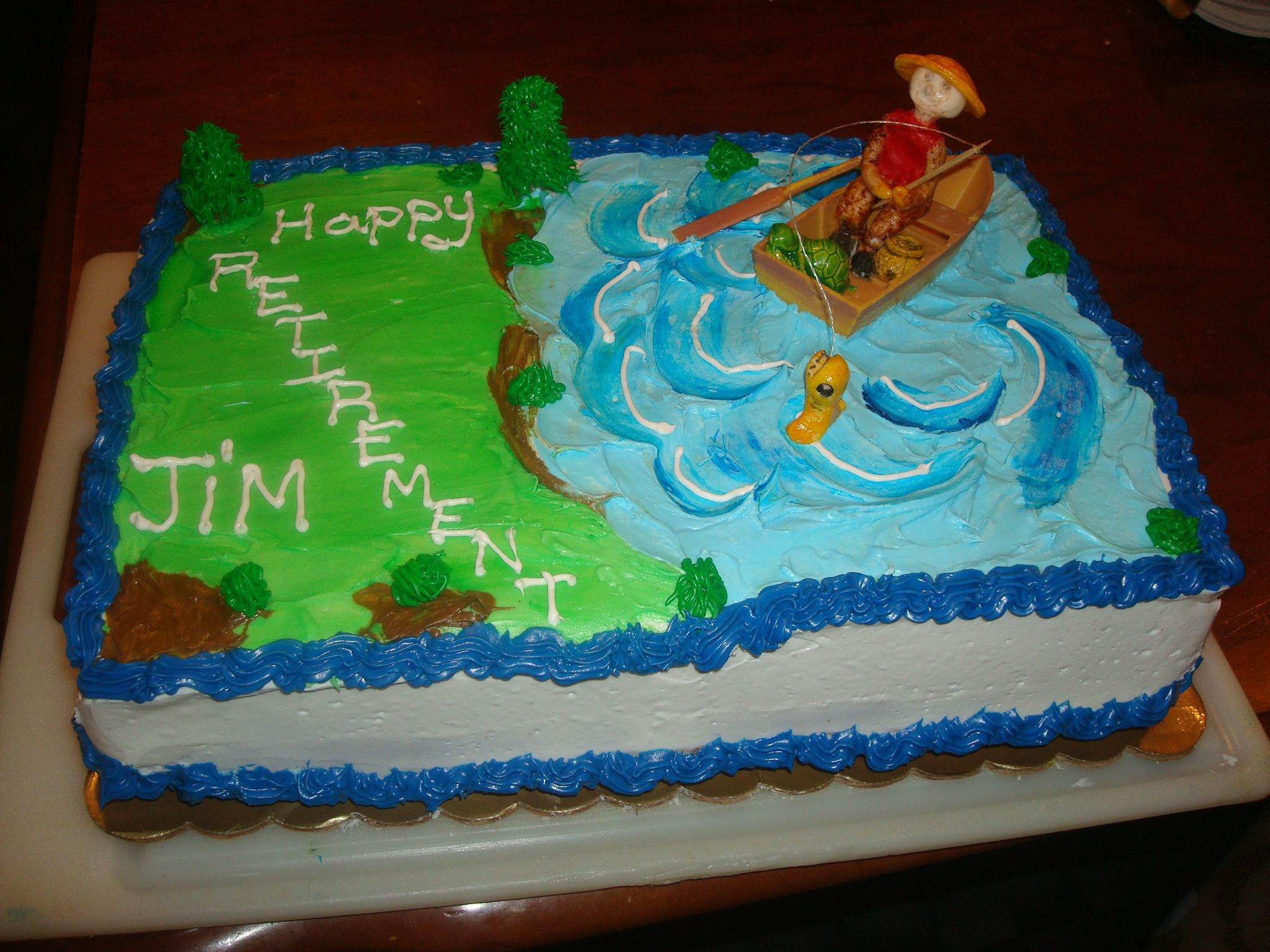 Retirement cake theme retirement fishing cake cakes for Fishing cake ideas