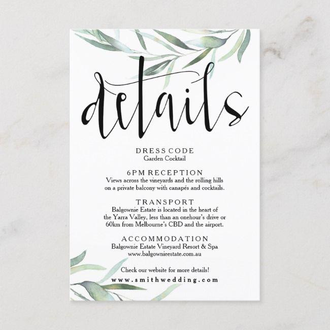 Create Your Own Enclosure Card Zazzle Com Wedding Invitation Details Card Eucalyptus Wedding Wedding Details Card