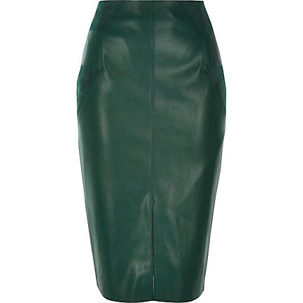 famous brand select for clearance sneakers for cheap Dark green leather-look pencil skirt | ••○••A/W 16 ...
