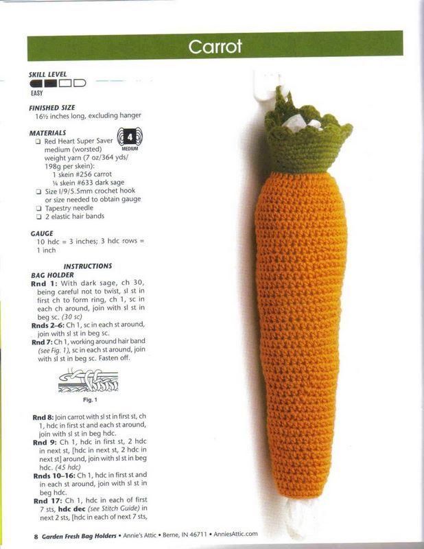 crochet para guardar las bolsas frutilla - Buscar con Google ...