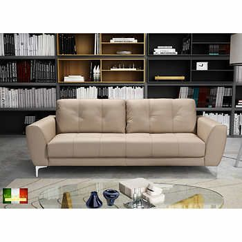 Costco.ca Casanova Taupe Top Grain Leather Sofa