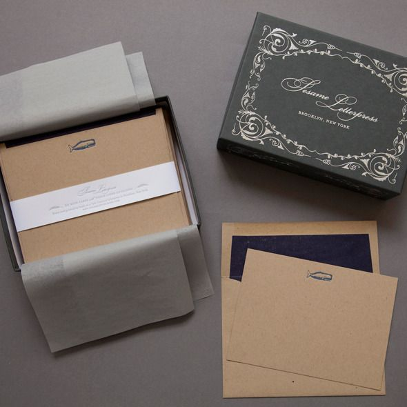 Whale Stationery form Sesame Letterpress $55