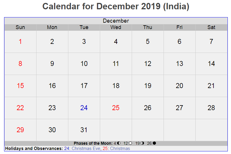 Calendar For December 2019 India Us Holiday Calendar Federal
