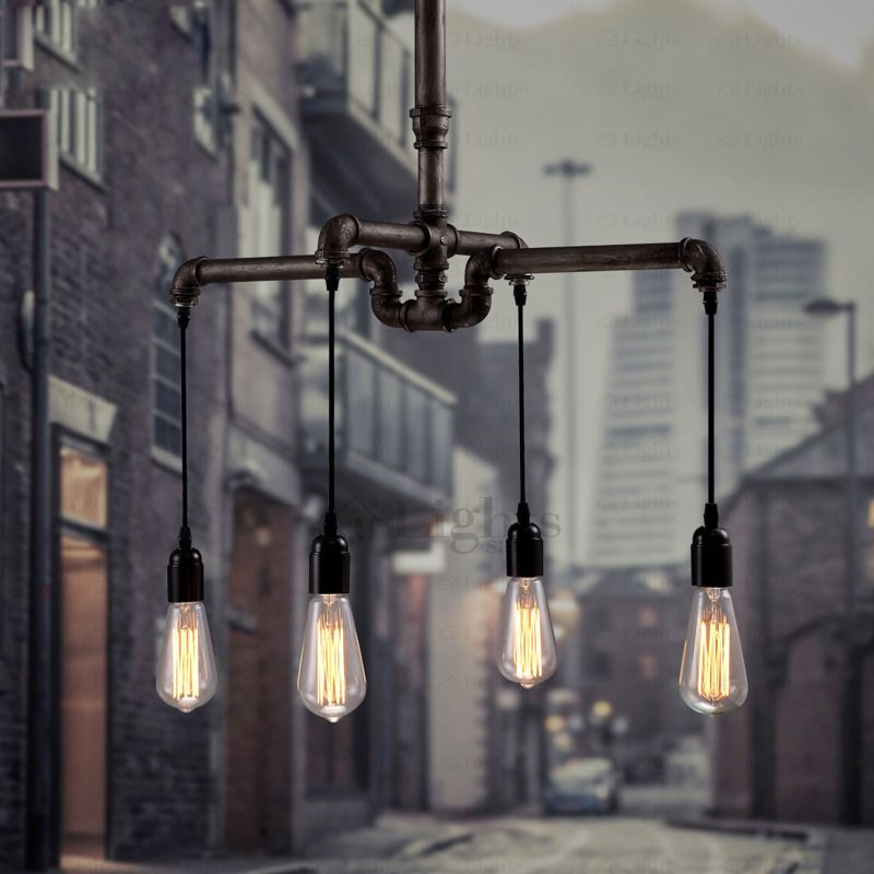 4 Loft Style Water Pipe Vintage Industrial Pendant Lamp Light In Iron ShadeLustres De Sala TetoBulb Included