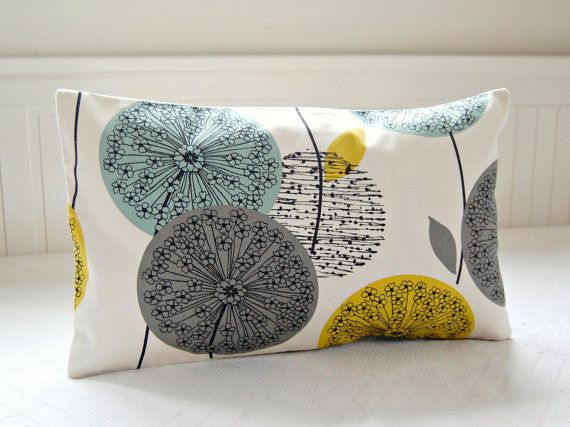Decorative Pillow Cover Teal Grey Mustard 12 X 20 Inch Lumbar Dandelion Sofa Cushion On Etsy 29 71