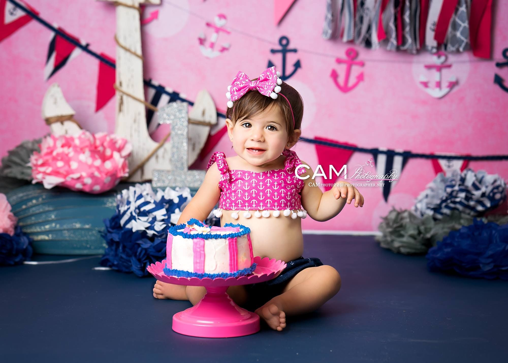 Nautical Girl Cake Smash First Birthday Pink And Navy Blue