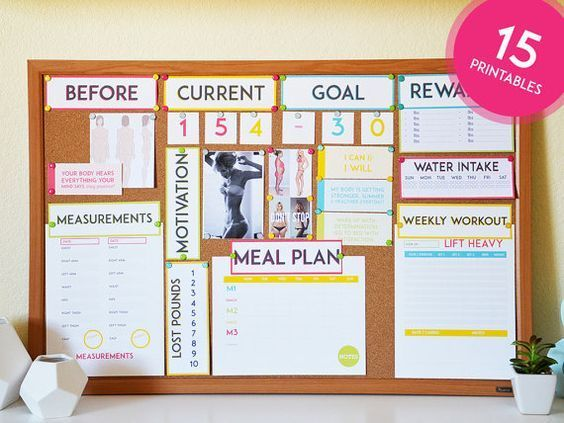 Motivational Health & Fitness Printables - INSTANT DOWNLOAD - Weight Loss - Fitness Vision Board - M...