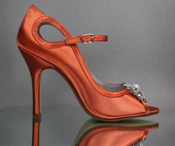 cca1c589986a Custom Wedding Shoes Burnt Orange Mary Jane by DesignYourPedestal ...