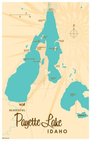 Payette Lake, ID Map 11x17 Print. Professional-grade digital print on