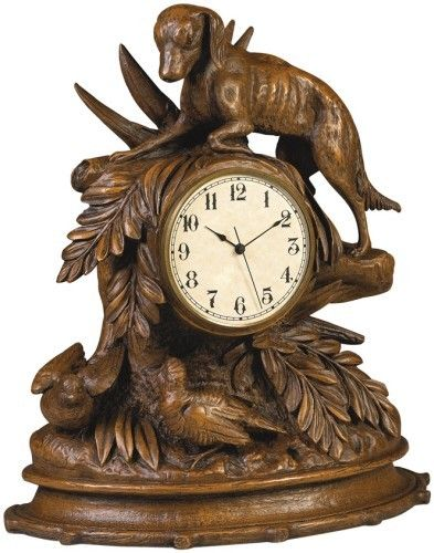 Dog and Birds Brushed Wood Finish Clock