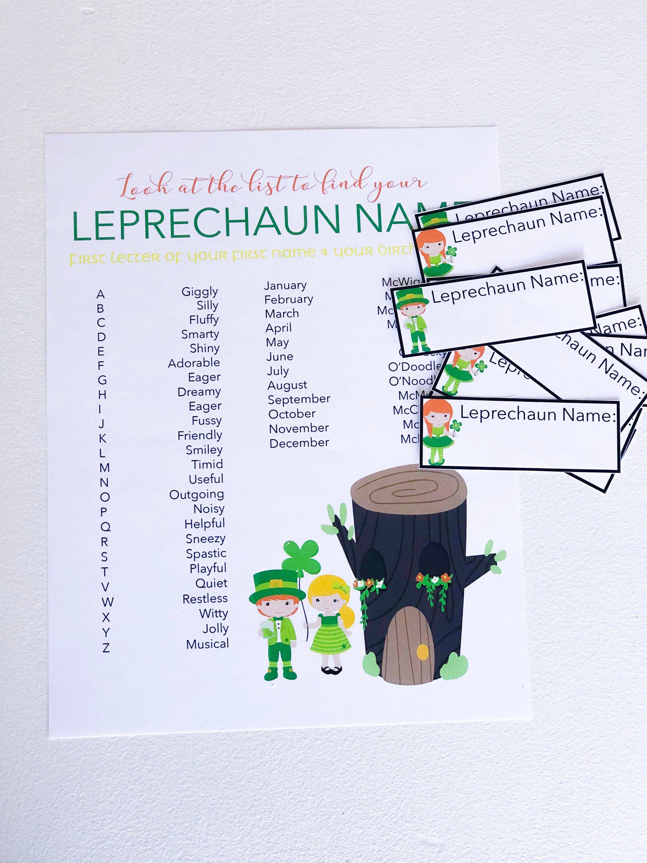 Leprechaun name game st patricks day saint patricks
