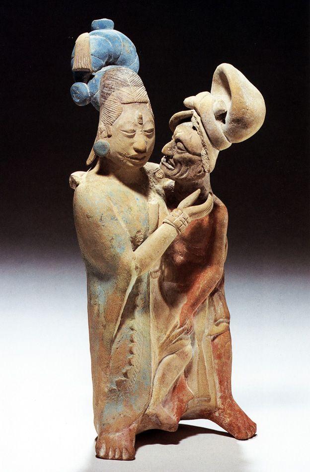 Maya Couple Figurine ~ Jaina elderly man and young woman