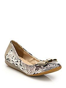 Cole Haan - Tali Snake-Embossed Leather Ballet Flats