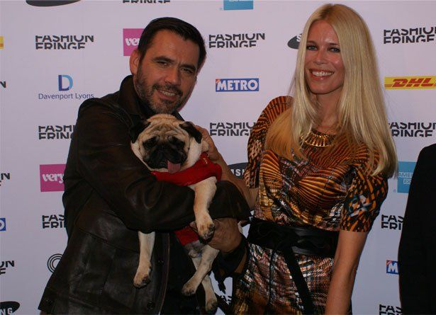 French designer Roland Mouret and supermodel Claudia Schiffer and pug