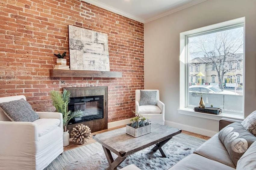 Exposed Brick Wall Living Room Design Ideas In 2020 Exposed