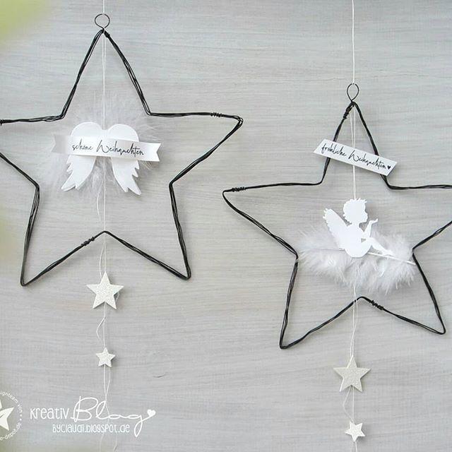 Drahtengel, verziert mit Stanzen   - adventbasteln - #adventbasteln #Drahtengel #mit #Stanzen #verziert #weihnachtsdekofensterbank