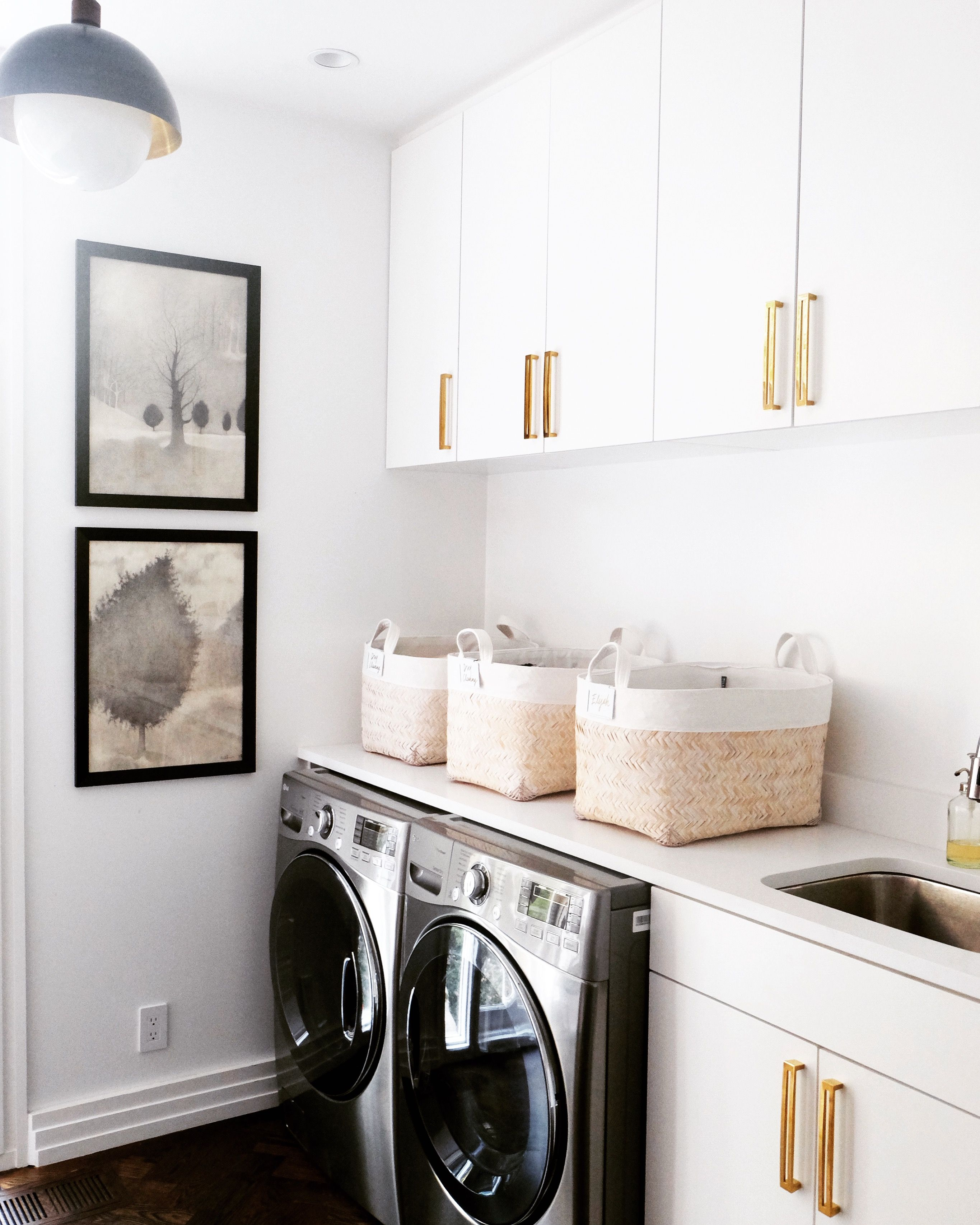 Baskets For Laundry Room Sit In Dryer Put Detergent Sixteen And Dryer Sheets In Washing White Laundry Rooms Laundry Room Organization Modern Laundry Rooms