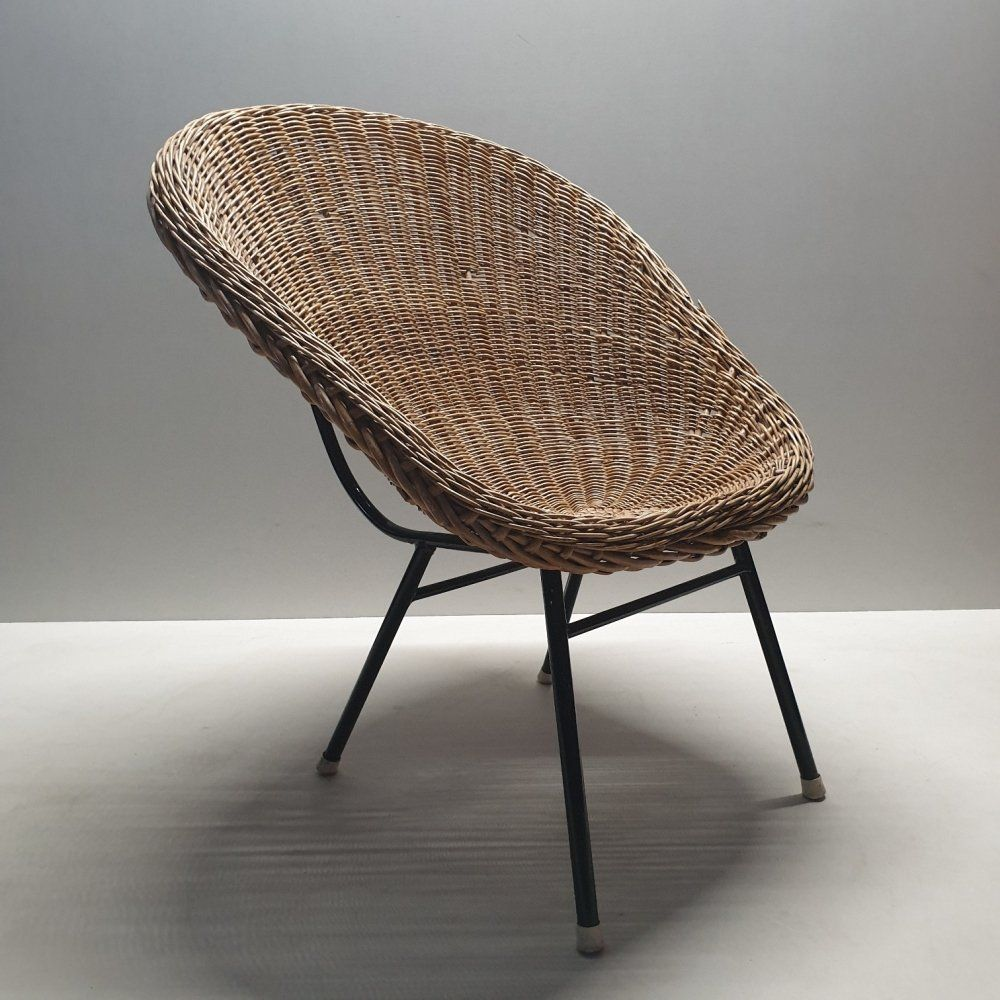 For Sale Rattan Bucket Chair With High Back By Dirk Van Sliedregt Bucket Chairs Chair Rattan