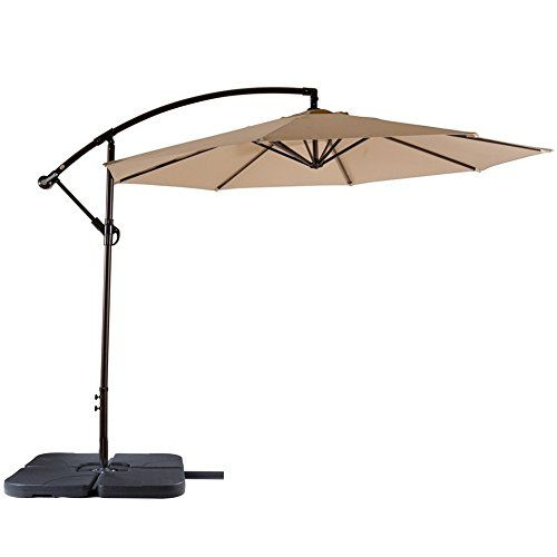 Snail Aluminum Offset Patio Umbrella Uv Protection Water Resistant Hanging Garden Cantilever With Cross Base Chocolate Home