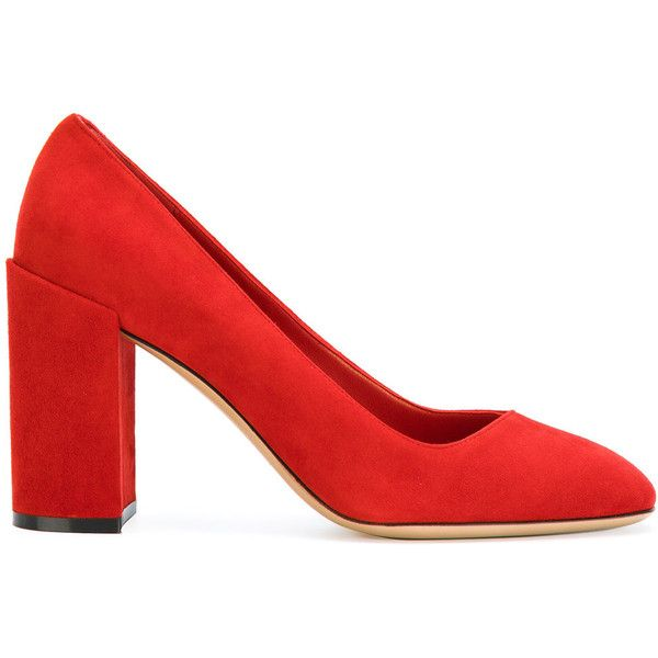ce5db202f Salvatore Ferragamo block heel pumps ($564) ❤ liked on Polyvore featuring  shoes, pumps, heels, red, red shoes, block heel court shoes, chunky shoes,  ...