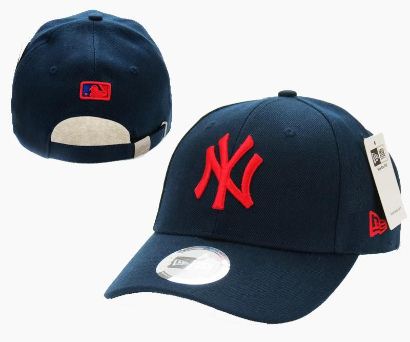 4204d2872316a Mens   Womens New York Yankees New Era Solid 6 Panel Strap Back Baseball  Adjustable Polo Cap - Navy   Red