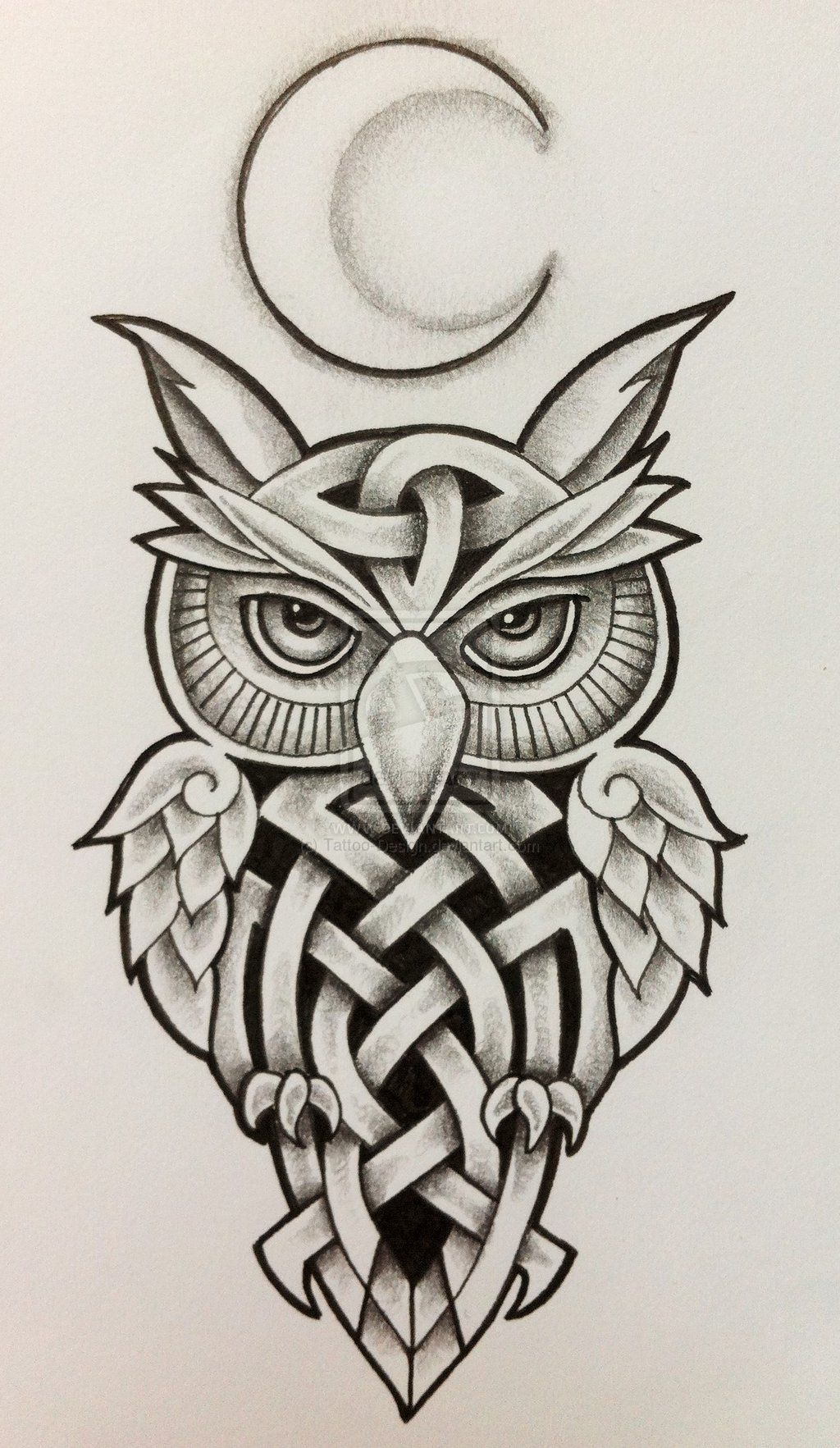 celtic_owl_and_moon_by_tattoo_design-d6xvnmg | Celta, Tatuajes y Dibujo
