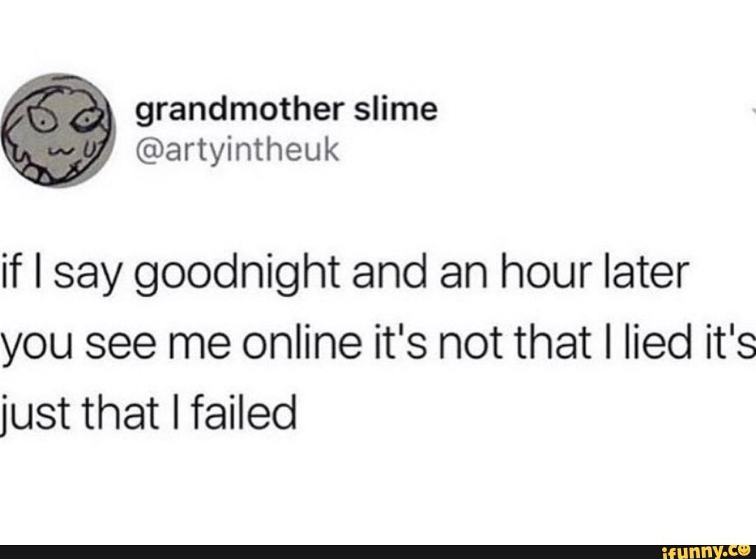 If I Say Goodnight And An Hour Later You See Me Online It S Not That I Lied It S Just That I Failed Ifunny Funny Quotes Quotes Funny Relatable Memes