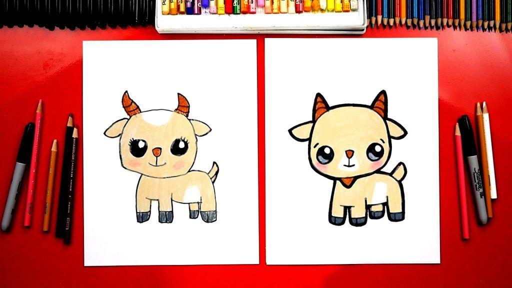 How To Draw A Cute Cartoon Goat Art For Kids Hub Goat Art Cartoon Drawings Disney