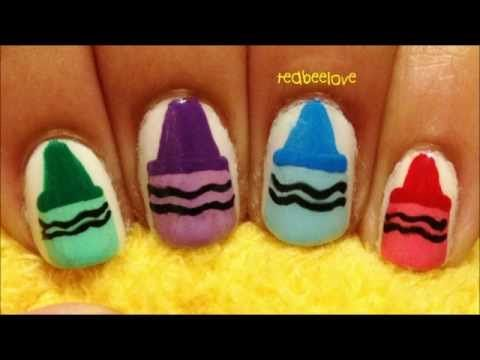 Painted Nails Crayons Video For My Girls Nail Art Pinterest