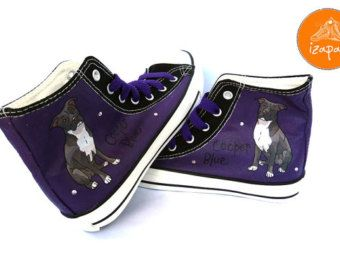 81fd81156f279 Pitbull Shoes, High Tops, Sneakers, Hand Painted sneakers, dog shoes ...