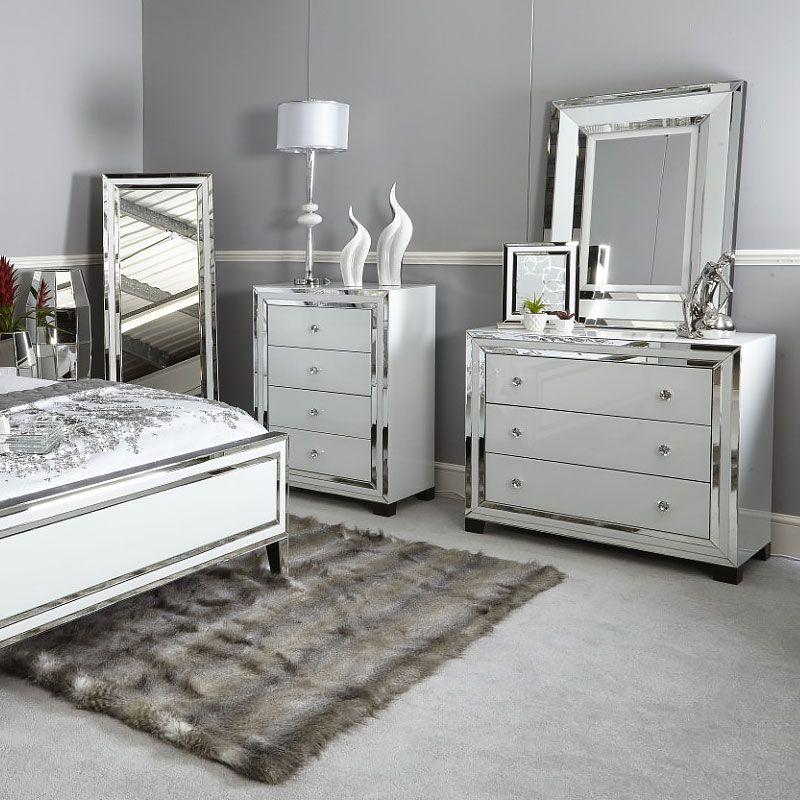 Madison White Glass 3 Drawer Mirrored, Mirrored Glass Bedroom Furniture